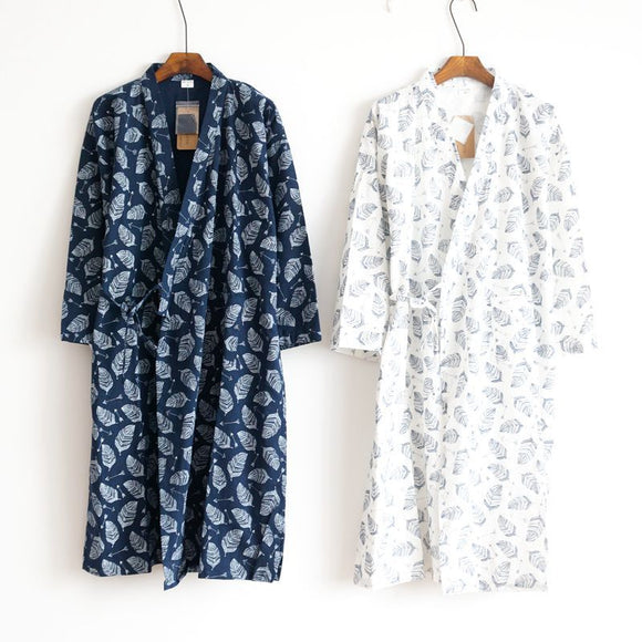 Summer Men's Robe 100% Cotton Gauze Leaf Loose Comfortable Leaves Kimono Robes home clothing nightly Bathrobes - 88digital