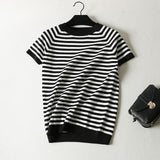 Short Sleeve Striped Pullover Women Sweater Knitted Sweaters O-Neck White Black - 88digital