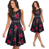 Summer Women Vintage Sleeveless Solid Color n Print Work Dress Elegant Collect Waist A-line Party Dress EA079 - 88digital