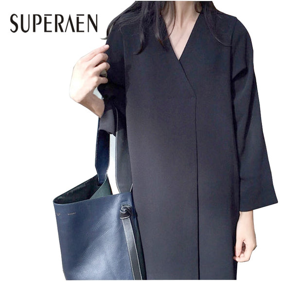 SuperAen Korean Style Women Long Dress 2018 Spring New Women Retro Dress Solid Color V-neck Loose Long-sleeve Dress Female - 88digital