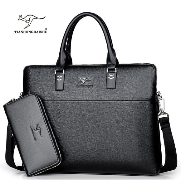 Men Casual Briefcase Business Shoulder Leather Messenger Bags Computer Laptop Handbag Men's Travel Bags handbags - 88digital