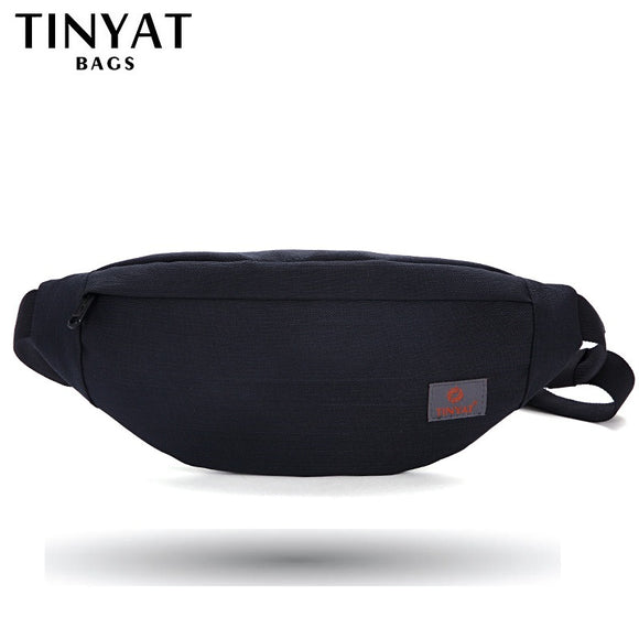 Men Casual Waist Pack Bag Brand Canvas Shoulder Fanny Packs Women Belt Bag Pouch For Money Phone Black Bum Hip Bag - 88digital