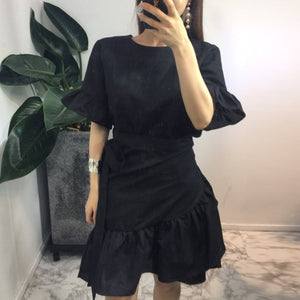 TWOTWINSTYLE Belt Dress Female Flare Sleeve High Waist Bodycon Patchwork Mini Dresses For Women Spring Summer Sweet Clothing - 88digital