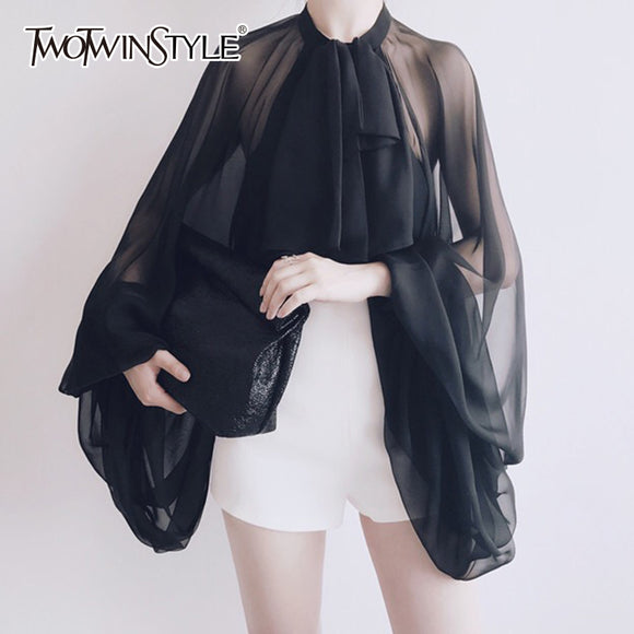 TWOTWINSTYLE Bowknot Chiffon Blouse Shirt Women Lantern Sleeve Tulle Transparent Sexy Tops Large Size 2019 Spring Summer Casual - 88digital