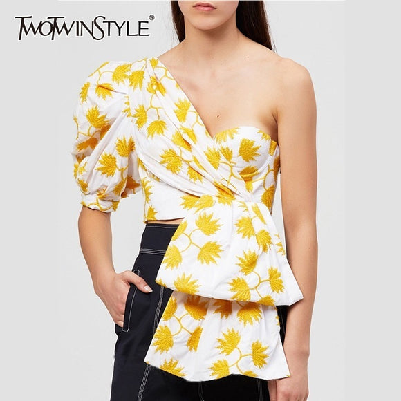 TWOTWINSTYLE Print Puff Half Sleeve Shirts Blouse Women Off Shoulder Irregular Crop Top Female 2019 Sexy Casual Fashion Tide - 88digital