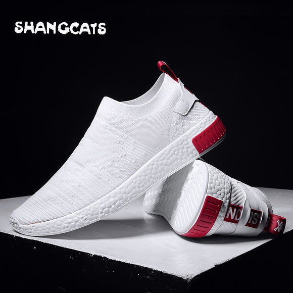 Thin Shoes For Summer White Shoes Men Sneakers Teen Shoes Without Lace Trend Feel Socks Shoes tenis masculino chaussure - 88digital