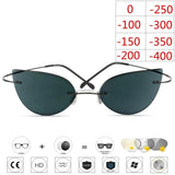 Titanium Rimless Glasses Myopia Glasses Photochromic glasses Women Chameleon Glasses Lens with Diopters - 88digital