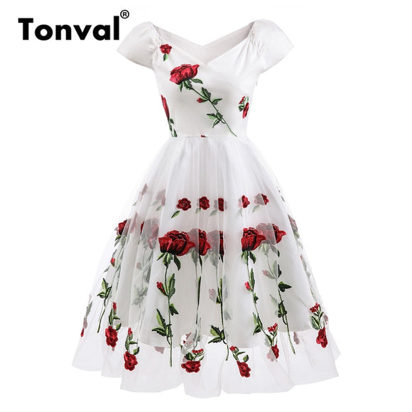 Tonval Rose Flower Embroidery V neck Elegant Dress Pleated Mesh Overlay Floral White Dresses Women Vintage Style Party Dress - 88digital