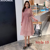 Two layers Floral Chiffon Dress Elastic Waist Women Spring A-line Lace Up Flare Sleeve Bohemian Dress Femme Vestidos 2019 - 88digital