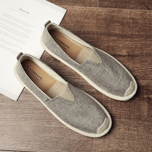 Breathable Linen Casual Men's Shoes Old Beijing Cloth Shoes Canvas Summer Leisure Flat Fisherman Driving Shoes - 88digital