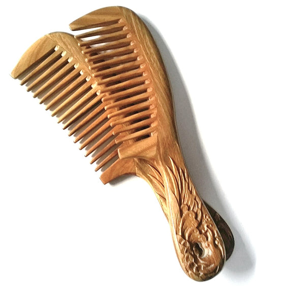 MC Carved Wooden Comb Sandalwood Nature Super Wood Combs No Static Beard Comb Beauty Health Hair Styling Tool Free Shipping