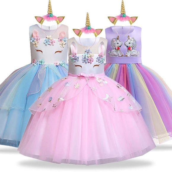 Unicorn Dress Birthday Kids Dresses For Girls Costume Halloween Christmas Dress Children Party Princess Dresses Elsa Cinderella - 88digital