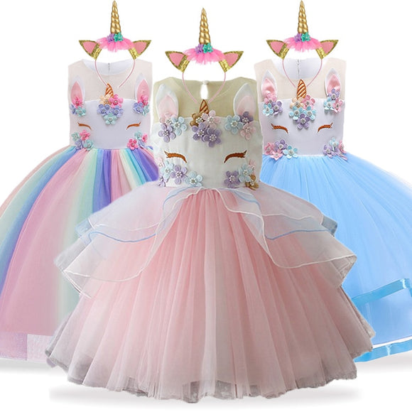 Unicorn Dress Christmas Kids Dresses For Girls Moana Elsa Costume Girls Princess Dress Children Birthday Party Dress fantasia - 88digital