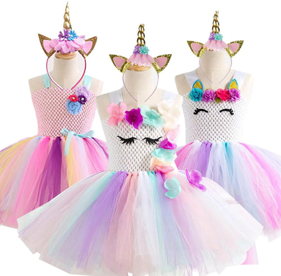 Unicorn Party Dress Kids Dresses For Girls Elsa Costume Halloween Dress Children Girls Princess Dress fantasia infantil vestido - 88digital