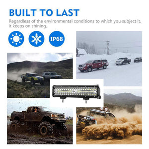 Universal 12 Inch Car LED Work Light Automative Three Rows Three Eye Working Lights 12 Inch Car LED Work Light - 88digital