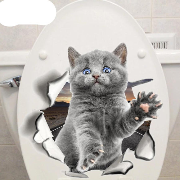 Cute Kitten Animal Cartoon Cat Wall Sticker Bathroom - 88digital