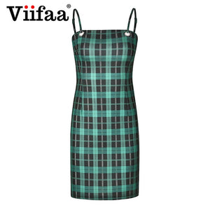 Viifaa Green Plaid Bodycon Dress Women 2019 Back Tie Cut Out Sexy Party Dress Spaghetti Strap Summer Mini Dresses - 88digital