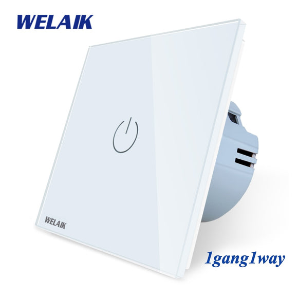 Crystal-Glass-Panel-Switch Wall-Intelligent-Switch-EU Touch-Switch Light-Smart-Switch 1gang-1way use-LED-lamp - 88digital