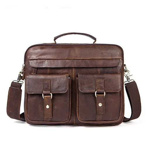 Men's Briefcase Work/office Bags for Men Genuine Leather Messenger Laptop Bag Leather Business Briefcase Bag for Document - 88digital