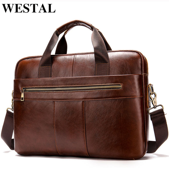 Men's briefcase bag men's genuine leather laptop bag business tote for document office portable laptop shoulder bag - 88digital