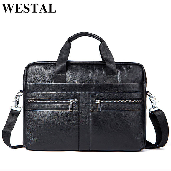 WETSTAL Business Briefcases Man for lawyer Genuine Leather Messenger Bag Men Shoulder Bags leather laptop men's briefcases - 88digital