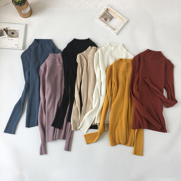 Sweater Long Sleeve Autumn Women Pullovers Sweater Warm Turtleneck Tops Jumpers - 88digital