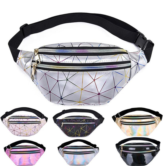 Waist Bags Women Pink Silver Fanny Pack female banana Belt Bag Wallet Bag Leg Holographic Waist Packs Laser Chest Phone Pouch - 88digital