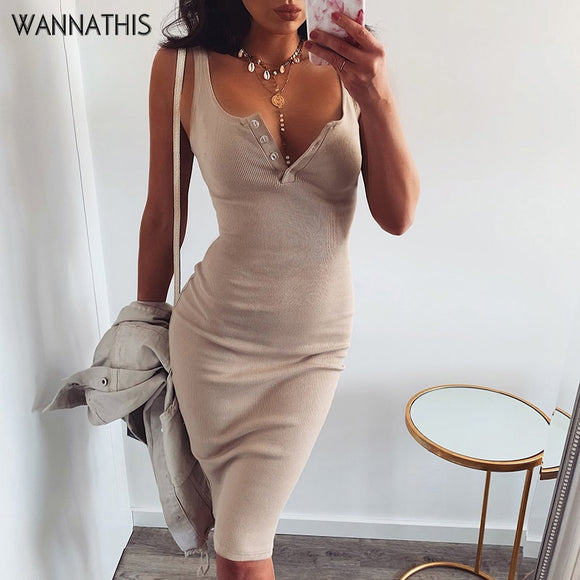 WannaThis Knee-Length Dress Knitted Elastic Sleeveless Bodycon elegant Women 2019 Summer Sexy V-Neck Button Party Slim Dresses - 88digital