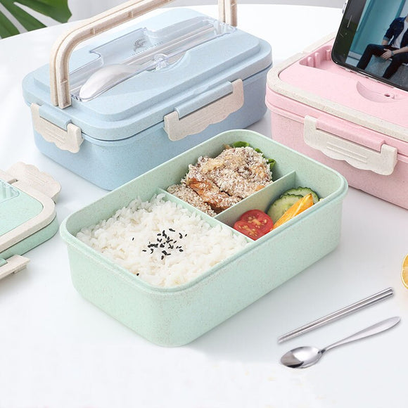 Wheat Straw Lunch Box Creative Fashion Microwave Sealed Lid Tableware Food Container Multi-functional Lattice Durable Bento Box USA - 88digital