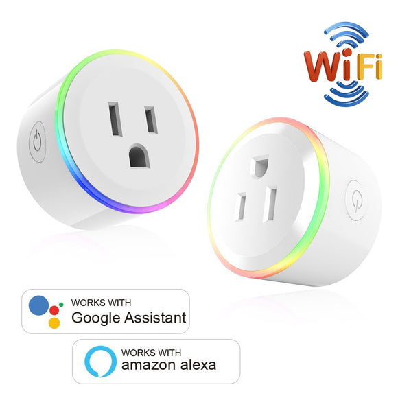 WiFi Switch Mini Socket Plug, Wireless Remote Control Outlet with Timer, Dimmable Light, Smart Home Compatible with Alexa/Google - 88digital