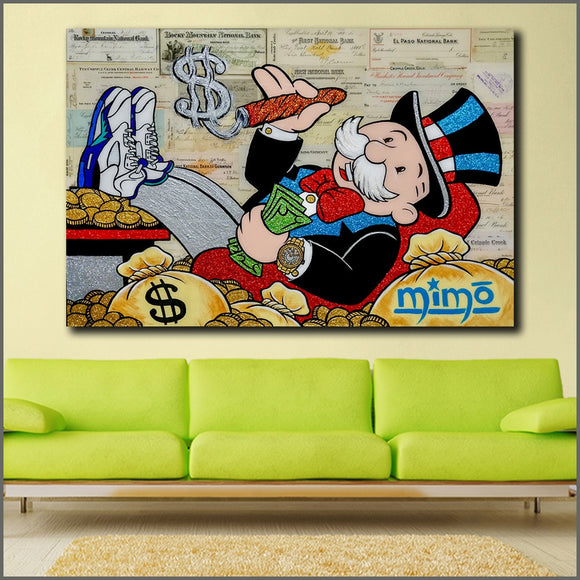 Wlong Large Size Oil Painting Monopoly 2 Graffiti  Wall Art Picture Home Decor Living Room Modern Canvas Print Paintings - 88digital