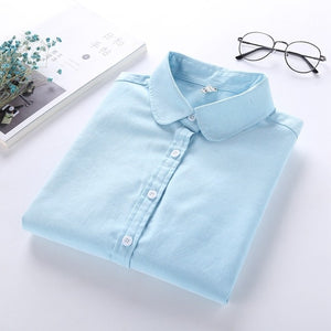 Women Blouse Long Sleeved Cotton Oxford White Shirt Woman Office Shirts Excellent Quality - 88digital