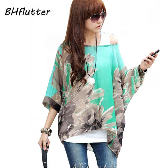 Women Blouses and Tops Fashion Floral Print Short Sleeve Summer Blouse Plus Size 4XL 5XL 6XL Women Chiffon Shirts - 88digital