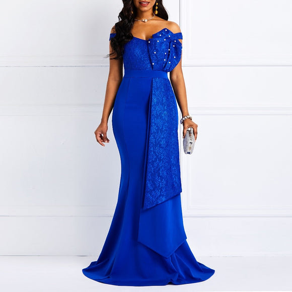Women Off Shoulder Long Dress Sexy Mermaid Slash Neck Beads Skinny Prom Evening Fashion Plus Size Lace Elegant Party Maxi Dress - 88digital