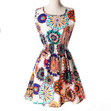 Women Summer Dress 2019 AWAYTR Brand Boho New  Apricot Sleeveless O-Neck Florals Print Pleated Party Clubwear Formal Dress - 88digital