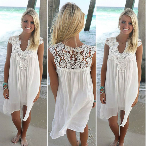 Women dress 2018 new Casual sexy summer Loose beach lace dress women sleeveless Slim Chiffon Short White Dress Plus Size vestido - 88digital