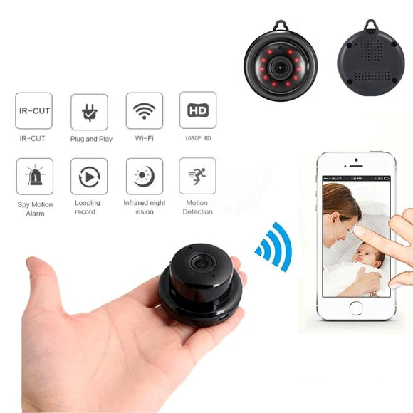 Home Security MINI WIFI 1080P IP Camera Wireless Small CCTV Infrared Night Vision Motion Detection SD Card Slot Audio APP - 88digital