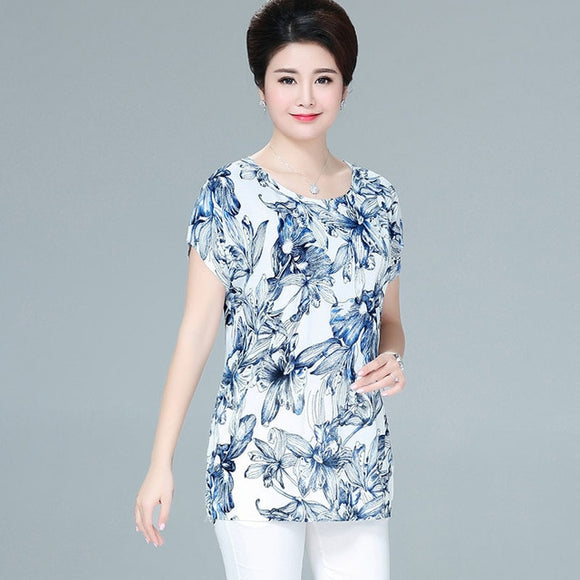Big Women Summer Style Casual Blouses Clothing Plus Size Short Sleeve Floral Shirt Women's Tops - 88digital