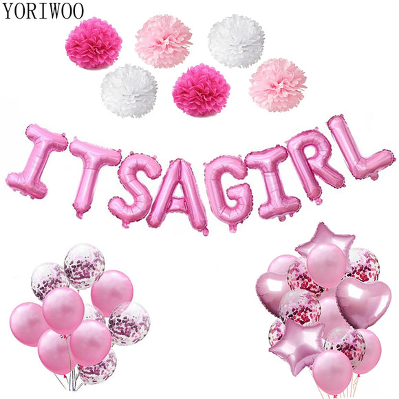 Its a Girl Balloon Confetti Pink Birthday Party Decorations Baby Shower Girl Baby shower Supplies Oh Baby Gender Reveal - 88digital
