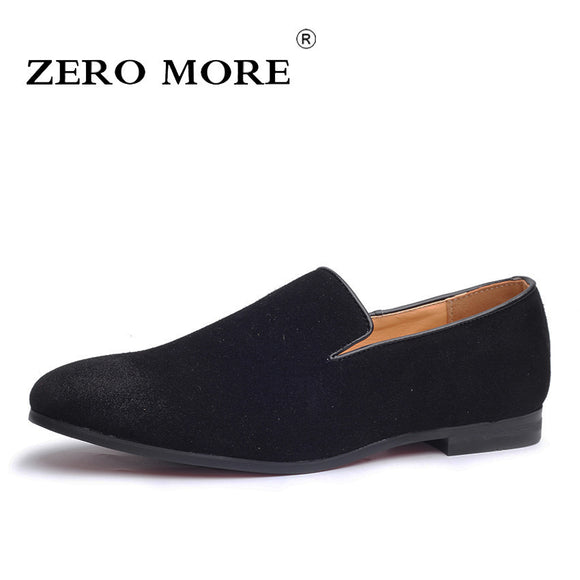 Slip On Shoes Men Loafers Black Moccasins Solid Soft Mens Shoes Casual Large Sizes Fashion Breathable Blue Suede - 88digital