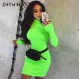 Autumn Winter Long Sleeve Neon Color Dress Long Sleeve Skinny Mini Sexy Dress Party Ribbed Female Vestidos - 88digital