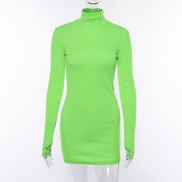 Spring Turtleneck Long Sleeve Bodycon Dress Womens Elegant Slim Knitted Clothes Neon Green Casual Party Dresses Vestidos - 88digital