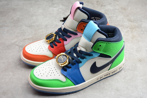 Nike Air JORDAN 1 MID SE Fearless Melody Ehsani White Orange Sail Obsidian Multi Color Men's Women's Running Shoes Sneakers Size 36-47.5 / 5.5-13.5 CQ7629-100