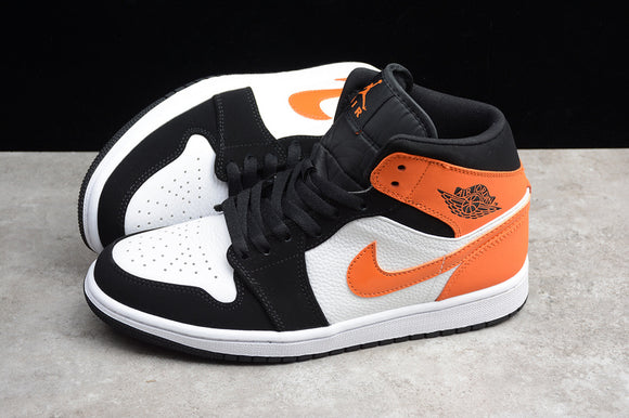 Nike Air JORDAN 1 Mid Black White Orange Starfish Men Women Shoes Sneakers Size 36-47.5 / 5.5-13.5 554724-058