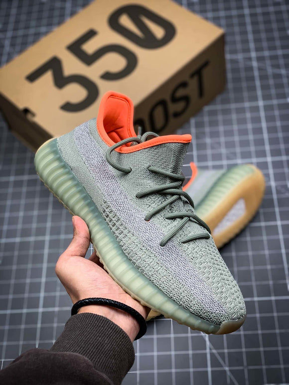 Adidas YEEZY BOOST 350 V2 Desert Sage Grey Orange Men's Women's Running Shoes Sneakers FX9035