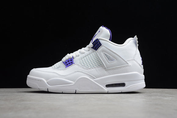 Nike Air Jordan 4 Retro White Metallic Silver Court Purple Men Shoes Sneakers Size 40-47.5 / 7-13.5 CT8527-115