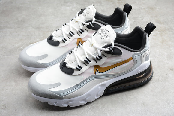 Nike Air Max 270 React LX White Gold Green Men Women Shoes Sneakers CK4126-001