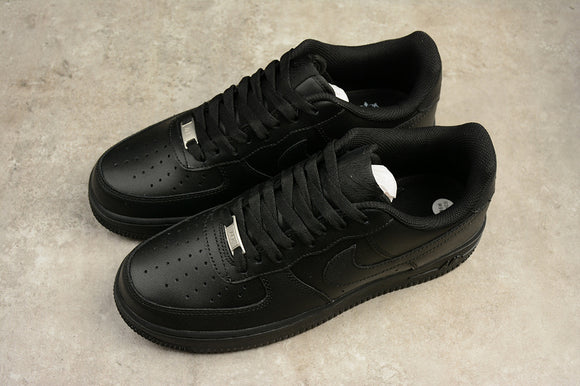 NIKE AIR Force 1 Low '07 Leather Triple All Black Black Black Men Women Shoes Sneakers Size 36-45 / 5.5-11 315122-001