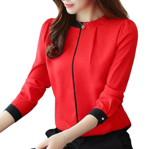 chiffon women Blouse Shirt 2019 Long Sleeve red women's clothing Office Lady blouse Women's Tops Ladies' shirt Blusas A91 30 - 88digital