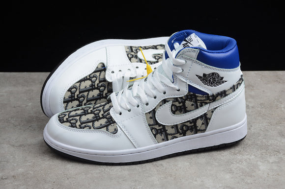 Nike AIR JORDAN 1 MID Dior White / Black Blue Men Women Shoes Sneakers Size 36-45 / 5.5-11 553668-100